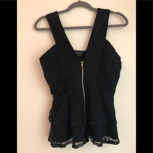 Bebe Black Peplum Blouse